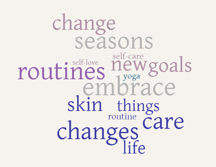 caris word cloud change seasons routines